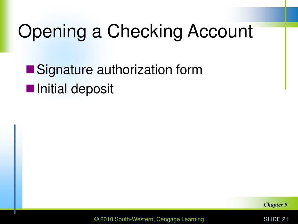 Opening a Checking Account