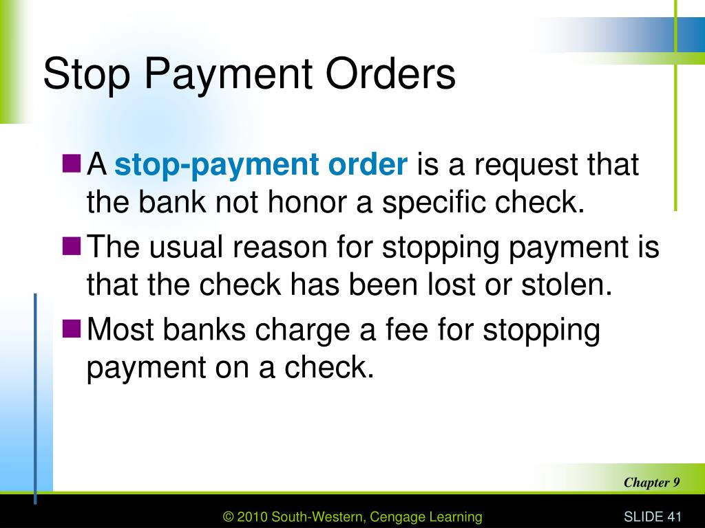 Stop Payment Orders