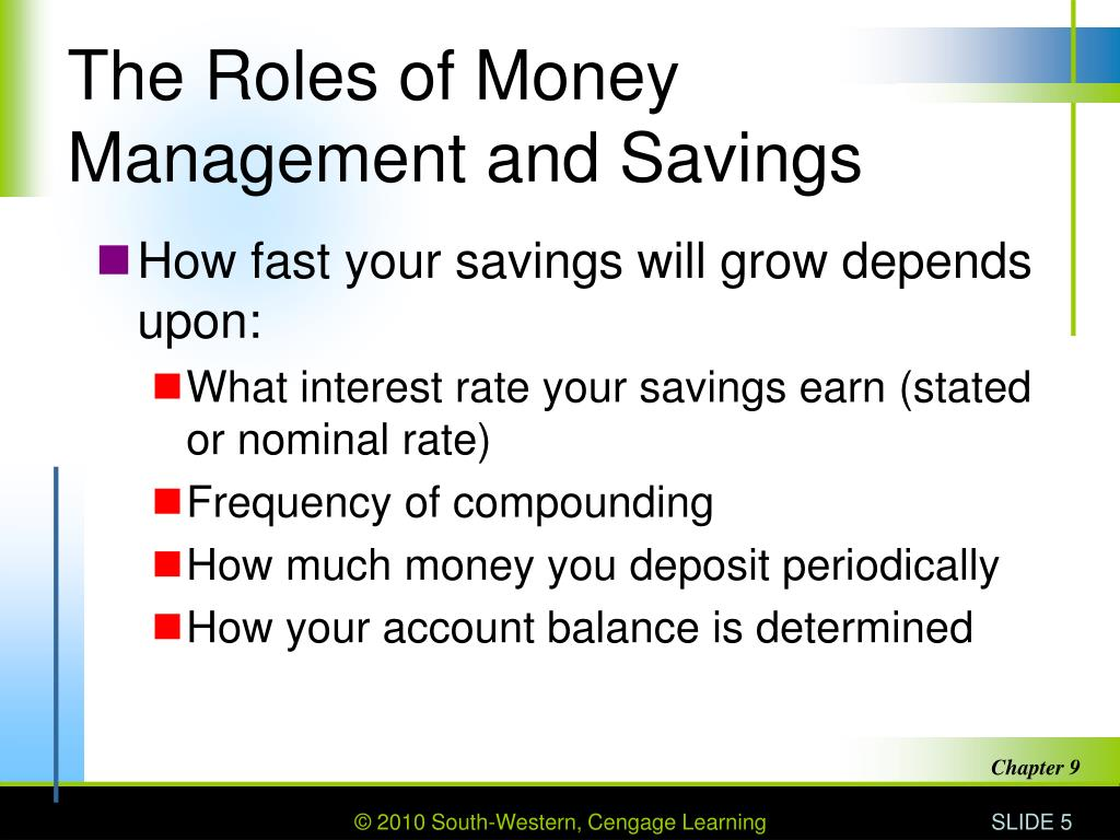 The Roles of Money Management and Savings