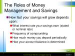 the roles of money management and savings5