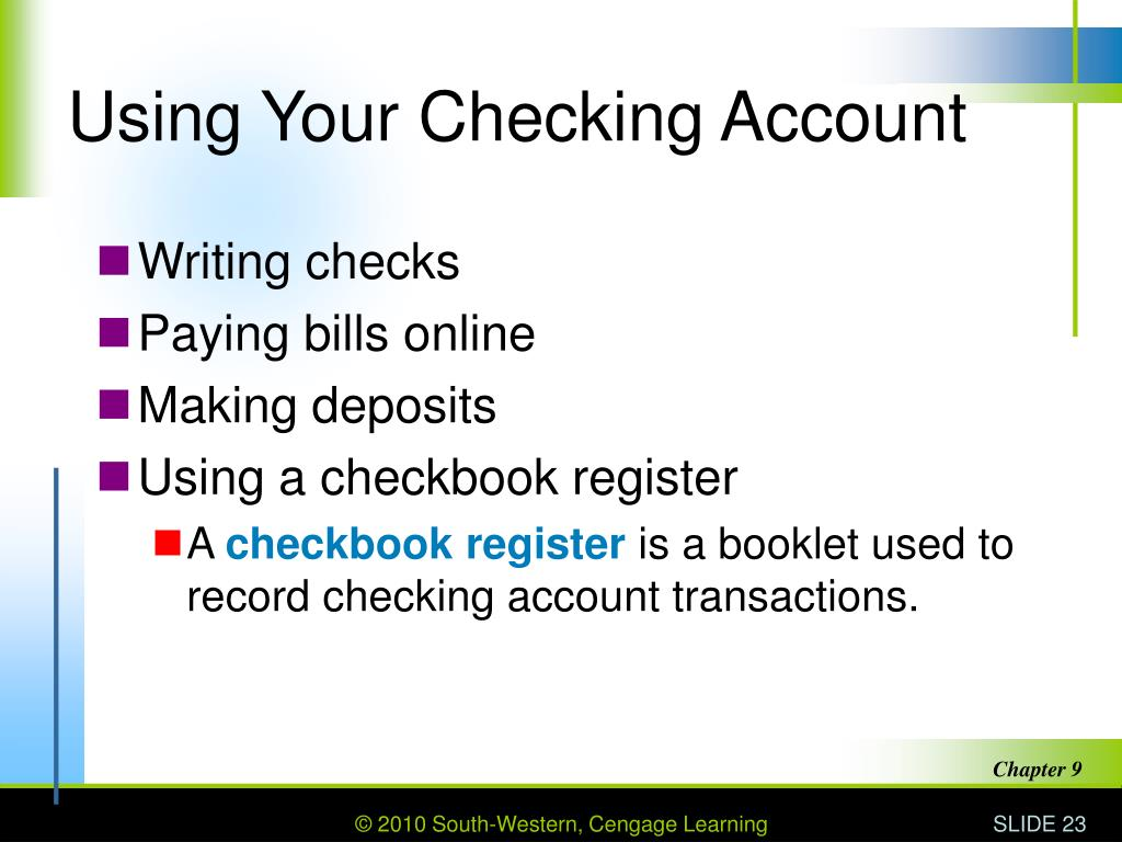 Using Your Checking Account