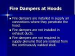fire dampers at hoods
