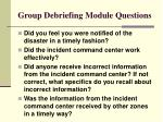 group debriefing module questions