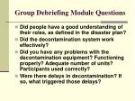group debriefing module questions41
