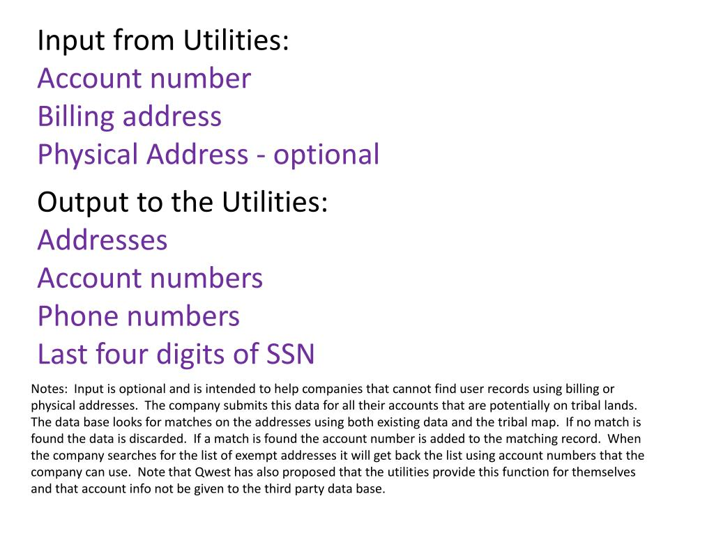 Input from Utilities: