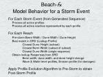 beach fx model behavior for a storm event
