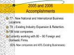 2005 and 2006 accomplishments