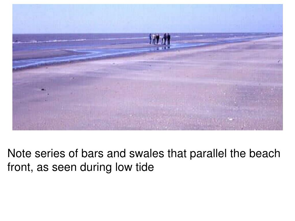 Note series of bars and swales that parallel the beach front, as seen during low tide