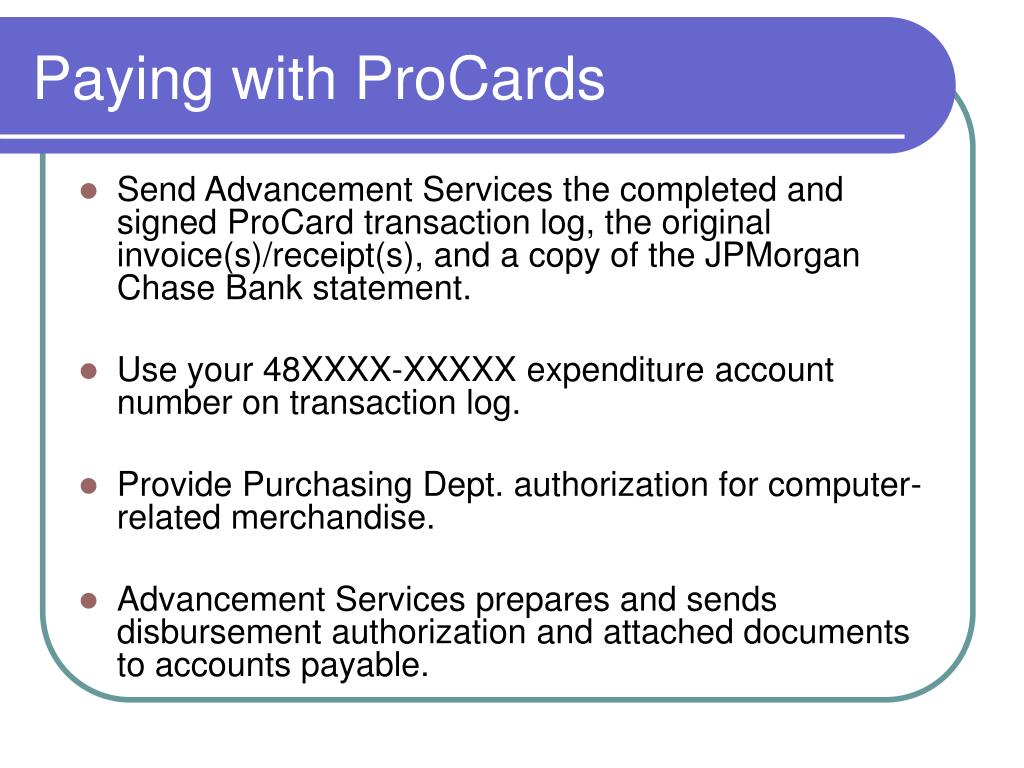 Paying with ProCards