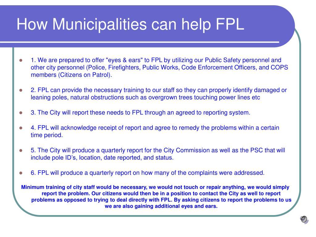 How Municipalities can help FPL