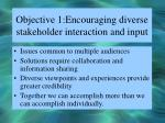 objective 1 encouraging diverse stakeholder interaction and input