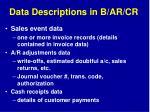 data descriptions in b ar cr20