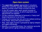 open item system