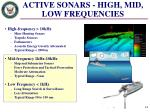 active sonars high mid low frequencies