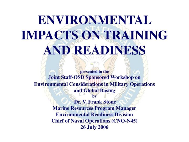 environmental impacts on training and readiness n.