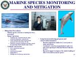 marine species monitoring and mitigation