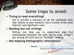some traps to avoid