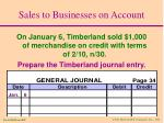 sales to businesses on account11