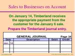 sales to businesses on account13