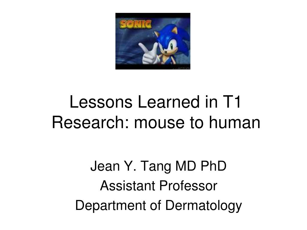 lessons learned in t1 research mouse to human l.
