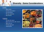 diversity some considerations