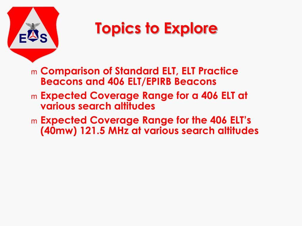 Topics to Explore
