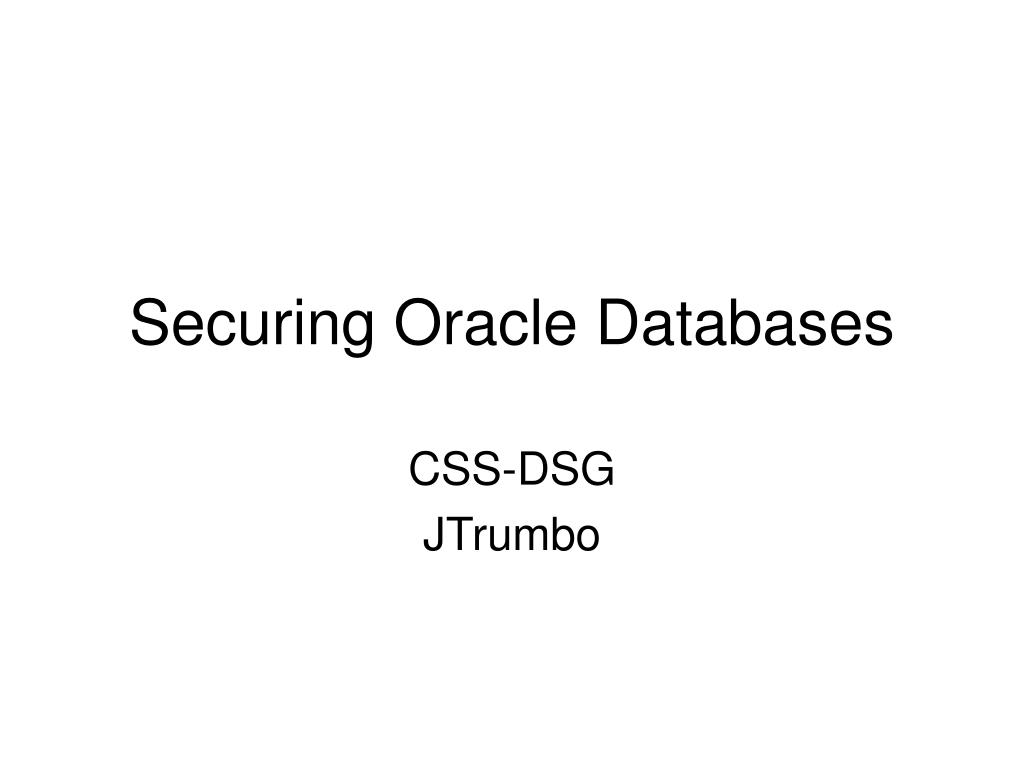 securing oracle databases l.