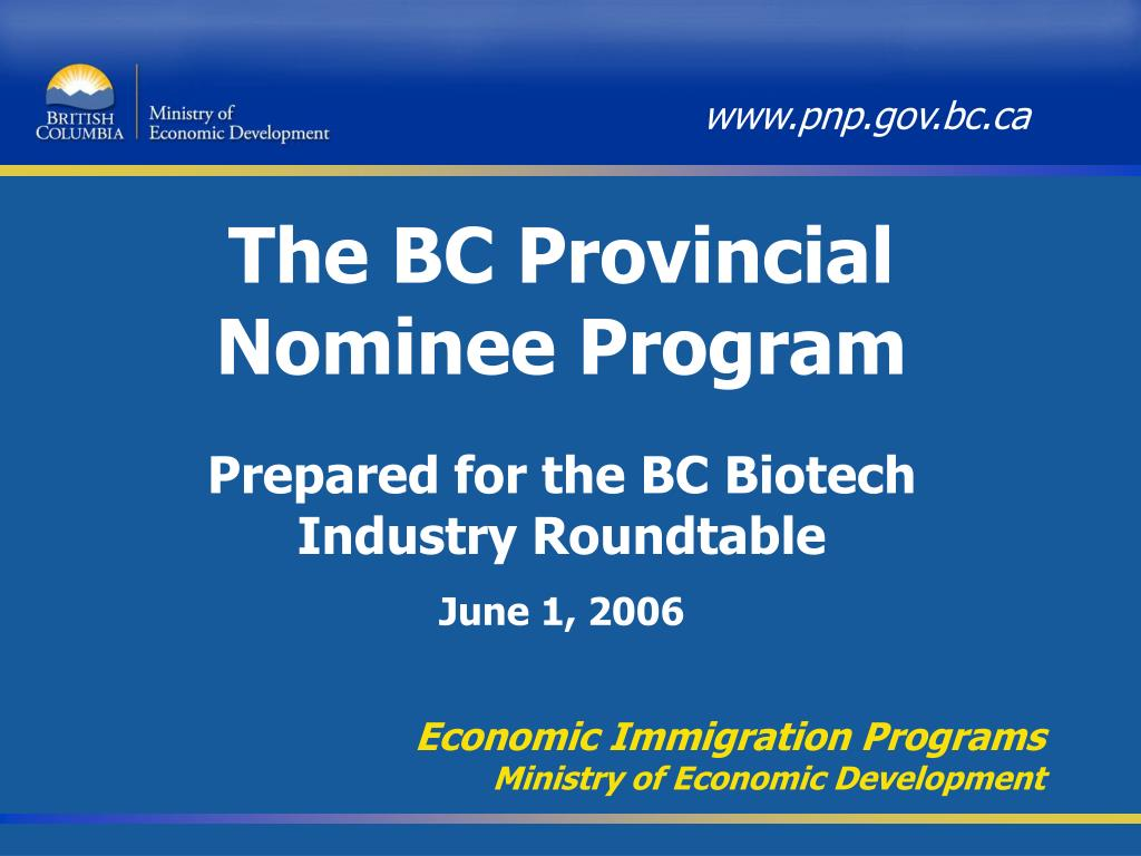 the bc provincial nominee program l.