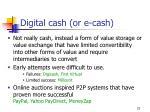 digital cash or e cash