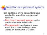 need for new payment systems
