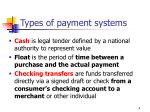 types of payment systems