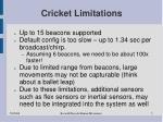 cricket limitations