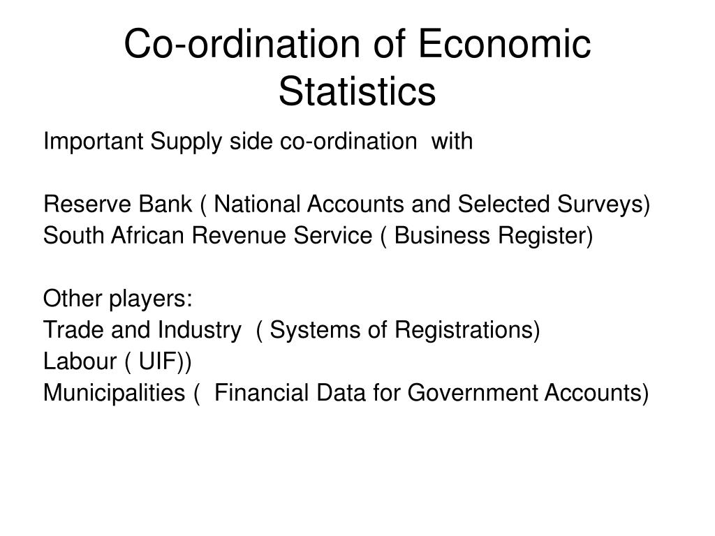 Co-ordination of Economic Statistics
