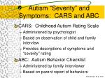 autism severity and symptoms cars and abc