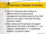preschool lifestyle inventory