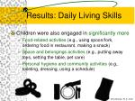 results daily living skills