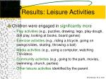 results leisure activities