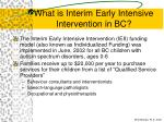 what is interim early intensive intervention in bc