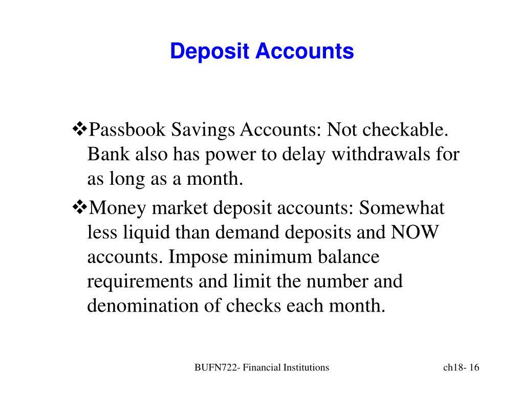 Deposit Accounts