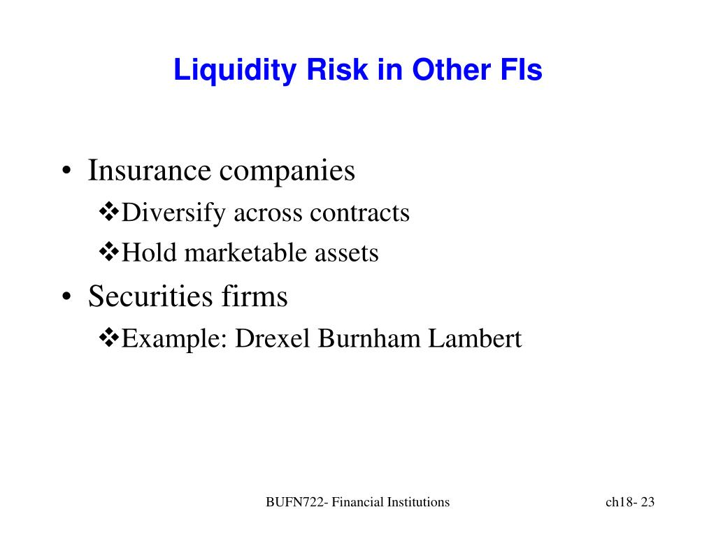 Liquidity Risk in Other FIs