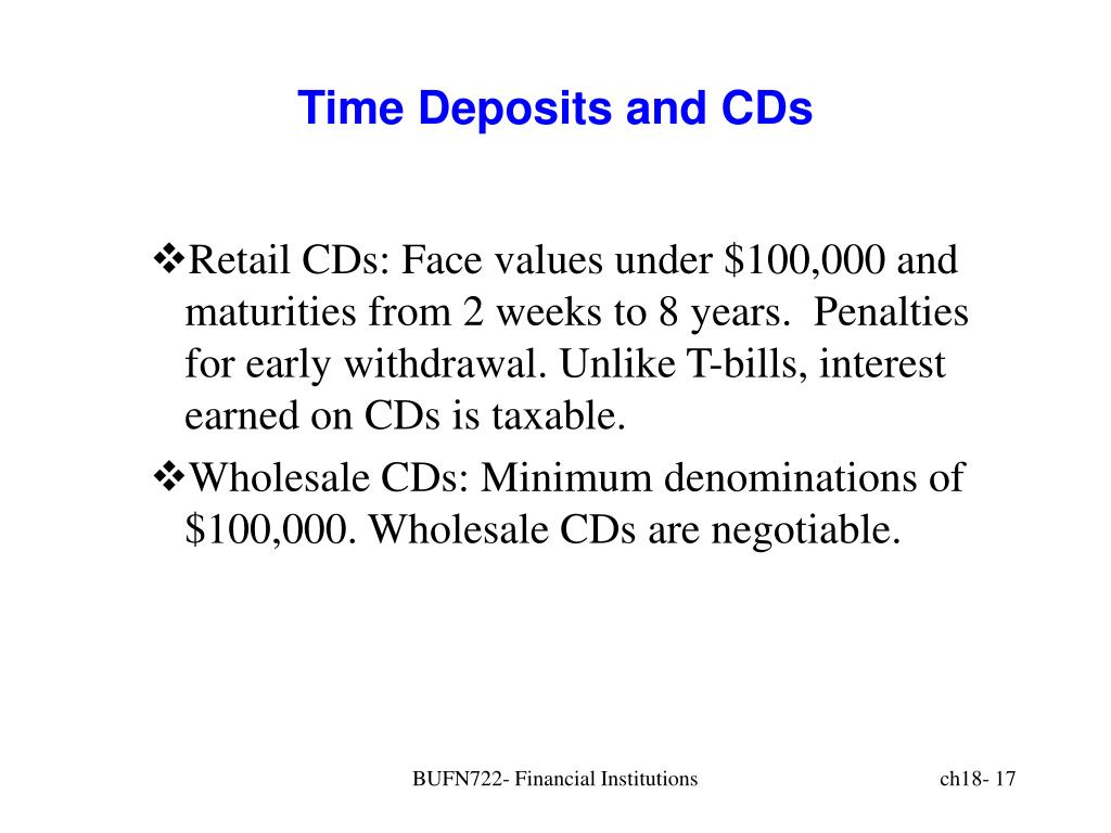 Time Deposits and CDs