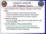 lessons learned jif projects cont