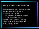 churg strauss granulomatosis