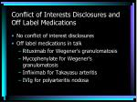 conflict of interests disclosures and off label medications