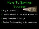 keys to savings success