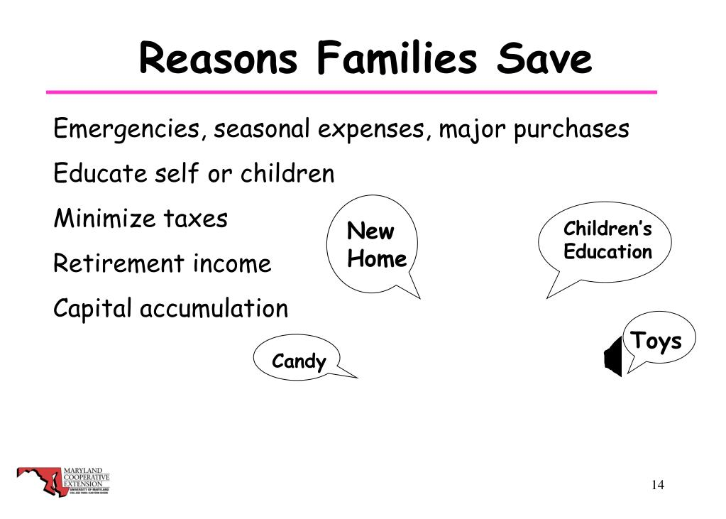 Reasons Families Save