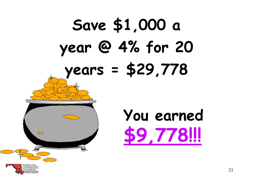 Save $1,000 a year @ 4% for 20 years = $29,778