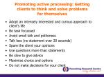 promoting active processing getting clients to think and solve problems for themselves