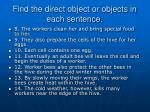 find the direct object or objects in each sentence7