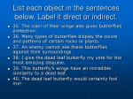 list each object in the sentences below label it direct or indirect15
